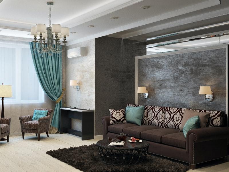 Καθιστικό με σκούρα χρώματα και σκούρο μονόχρωμο χαλί